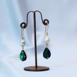 Bimbeads Pearl and Abalony Earrings